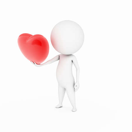 a 3d rendered illustration of a small guy and a big heart illustration
