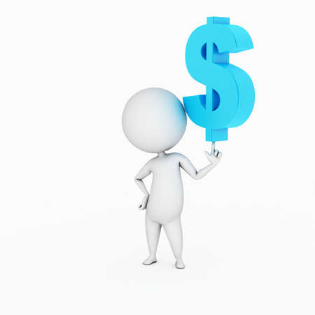 3d guy: a 3d rendered illustration of a small guy and a dollar sign