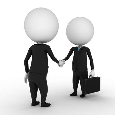suit case: 3d render - two small business guys shaking hands Stock Photo