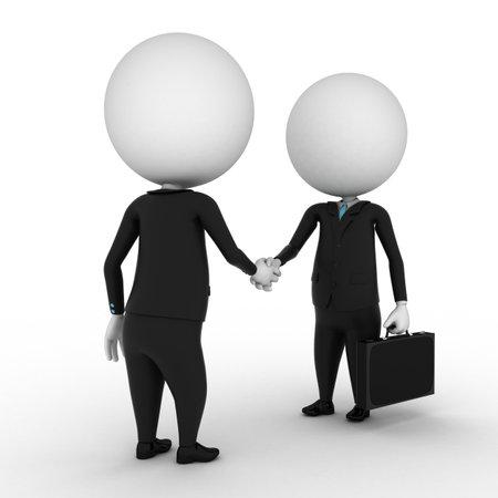 3d render - twee kleine bedrijven jongens handen schudden