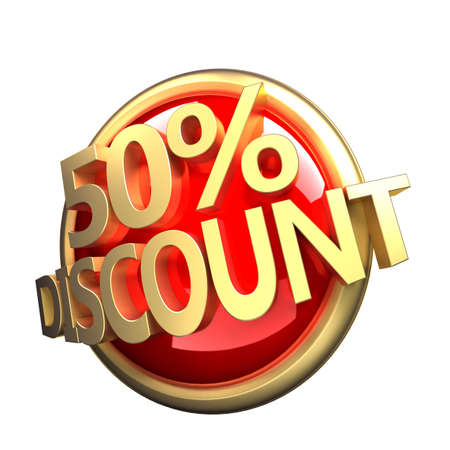 3d rendered, shiny gold red discount button Stock Photo - 11023623