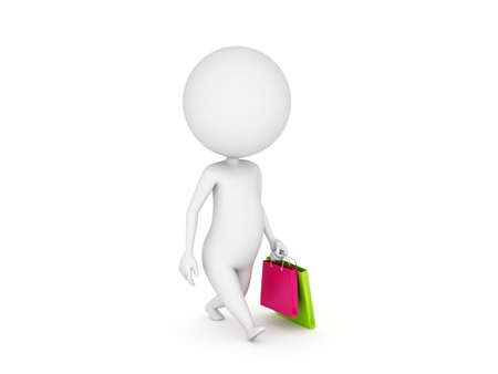 3d rendered illustration of a little guy with shopping bags Stock Illustration - 11009593