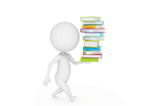 3d rendered little guy walking with a pile of books Stock Photo - 11009628