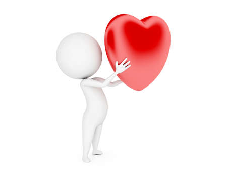 a 3d rendered illustration of a small guy and a big heart