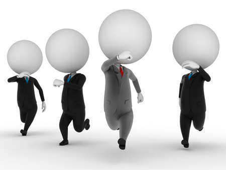 3d rendered illustration of guys in suits running illustration