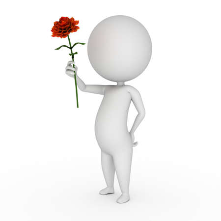 florist: 3d rendered illustration of a little guy with a flower