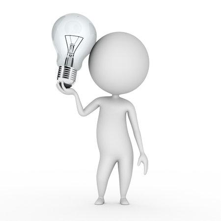 ampoule: 3d illustration rendu d'un petit gars avec une ampoule