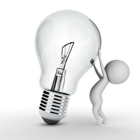 3d rendered illustration of a little guy with a bulb illustration