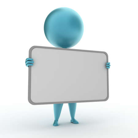 3d rendered illustration of a blue guy with a blank sign illustration