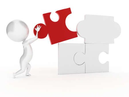 complete solution: 3d rendered illustration of a guy with a puzzle part