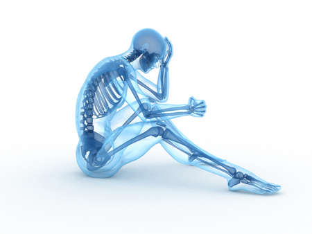 visible: 3d rendered illustration of a sitting male with visible bones