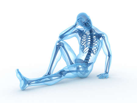 transparent male anatomy: 3d rendered illustration of a sitting male with visible bones