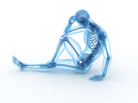 3d rendered illustration of a sitting male with visible bones illustration