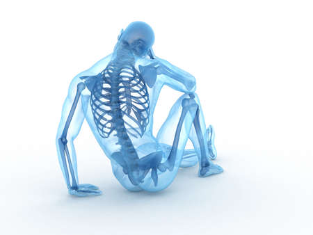physiology: 3d rendered illustration of a sitting male with visible bones