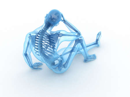 bones of the foot: 3d rendered illustration of a sitting male with visible bones