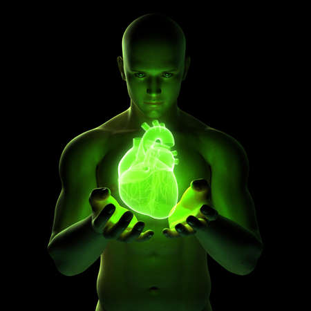 shiny hearts: 3d rendered illustration of a male holding a heart Stock Photo