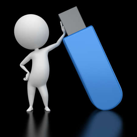3d rendered illustration of a guy with a flash usb illustration
