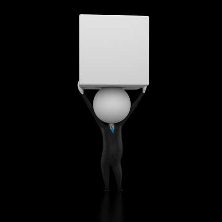 3d rendered illustration of a guy lifting a box illustration