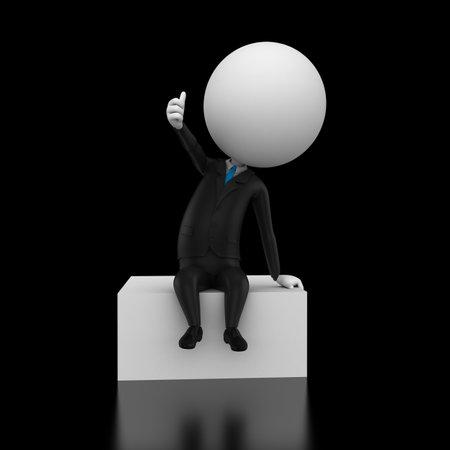 3d rendered illustration of a little guy on a box illustration