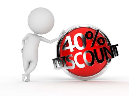 lowered: 3d rendered illustration of a guy with a discount sign Stock Photo