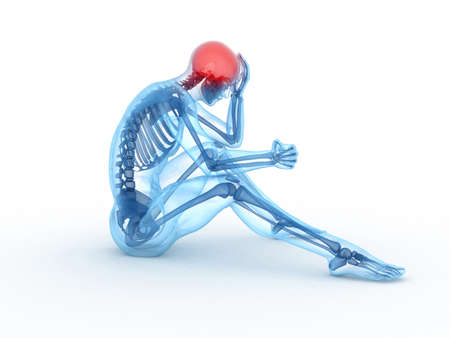 3d rendered medical illustration of a sitting male - headache Stock Illustration - 11023500