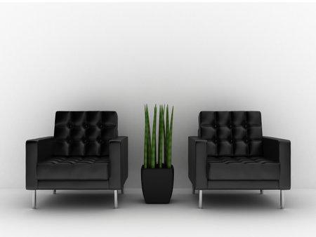sleek: 3d rendered interior illustration - two leather seats