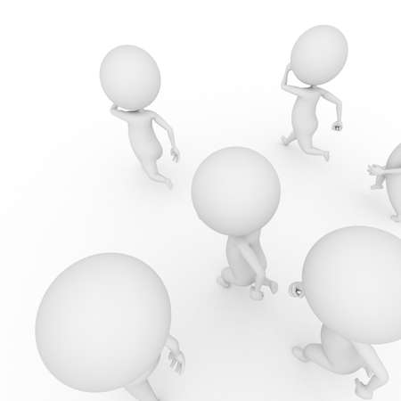 actions: 3d rendered illustration of some small guys running Stock Photo