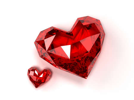 ruby stone: ruby hearts  Stock Photo