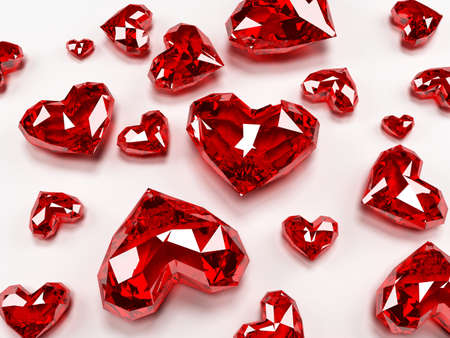 valueables: ruby hearts  Stock Photo