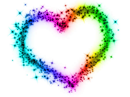 rainbow color star: rainbow heart Stock Photo