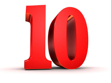 10: red 3d number 10  Stock Photo