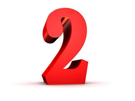 number 2: red 3d number 2