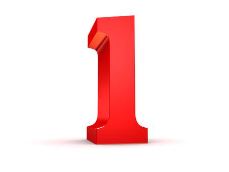 rojo 3d número 1