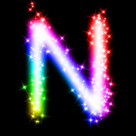 colorful alphabet letter - N photo