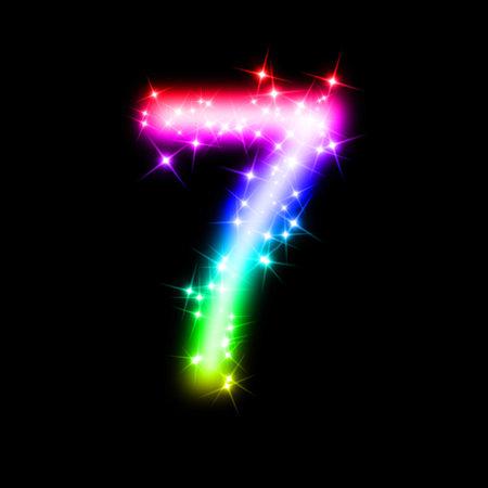 number seven: glitter number 7