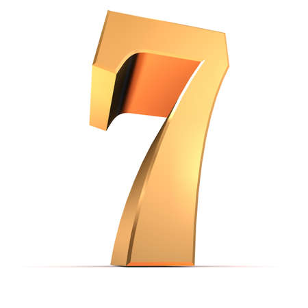 number seven: golden number - 7  Stock Photo