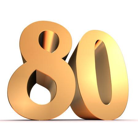 bevel: golden number - 80  Stock Photo