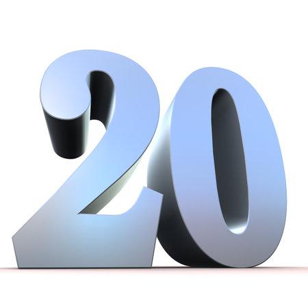 20: n�mero de la plata - 20 Foto de archivo