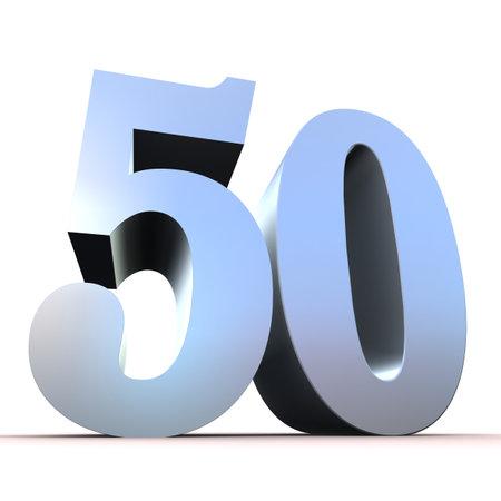 number 50: n�mero de plata - 50 Foto de archivo