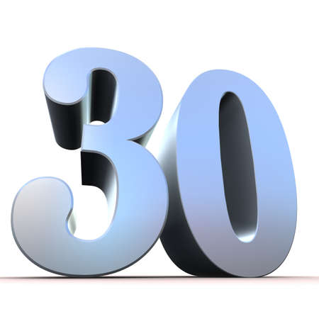 30: silver number - 30  Stock Photo