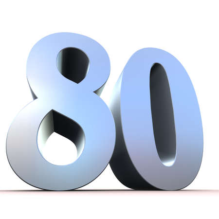 achtzig: Silber Zahl - 80