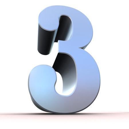 digit 3: silver number - 3