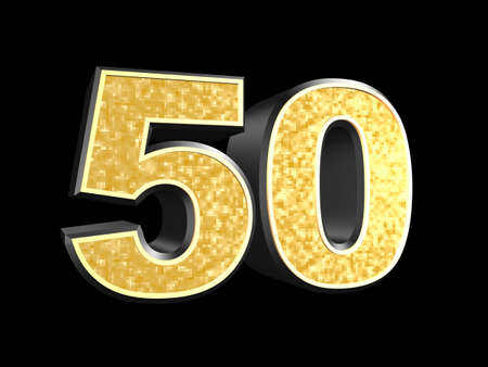 50 number: golden number 50  Stock Photo