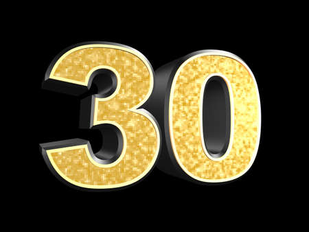 numbers clipart: golden number 30  Stock Photo