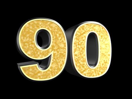 90: golden number 90  Stock Photo