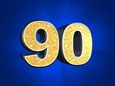 90: golden number - 90  Stock Photo