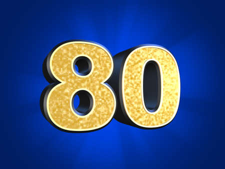 80: golden number - 80  Stock Photo