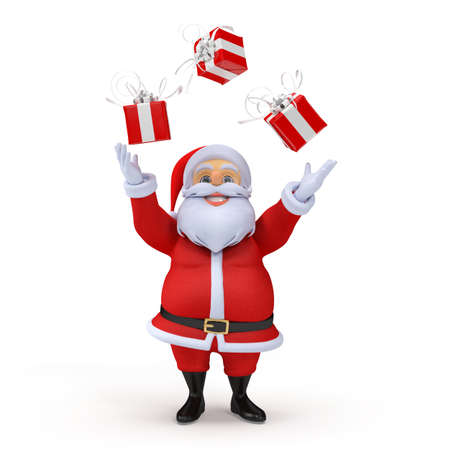 juggling: 3d rendered illustration of a santa claus juggling with presents