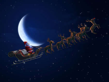 3d rendered illustration of santa with his sleigh Imagens