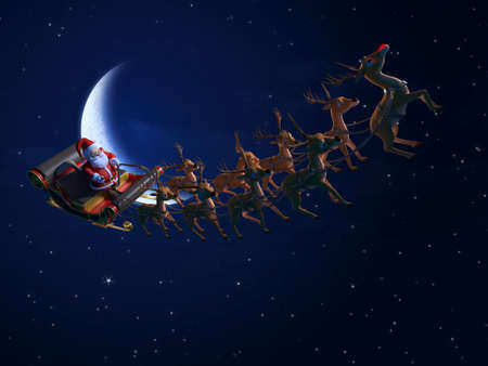 3d rendered illustration of santa with his sleigh Stock Illustration - 12585934